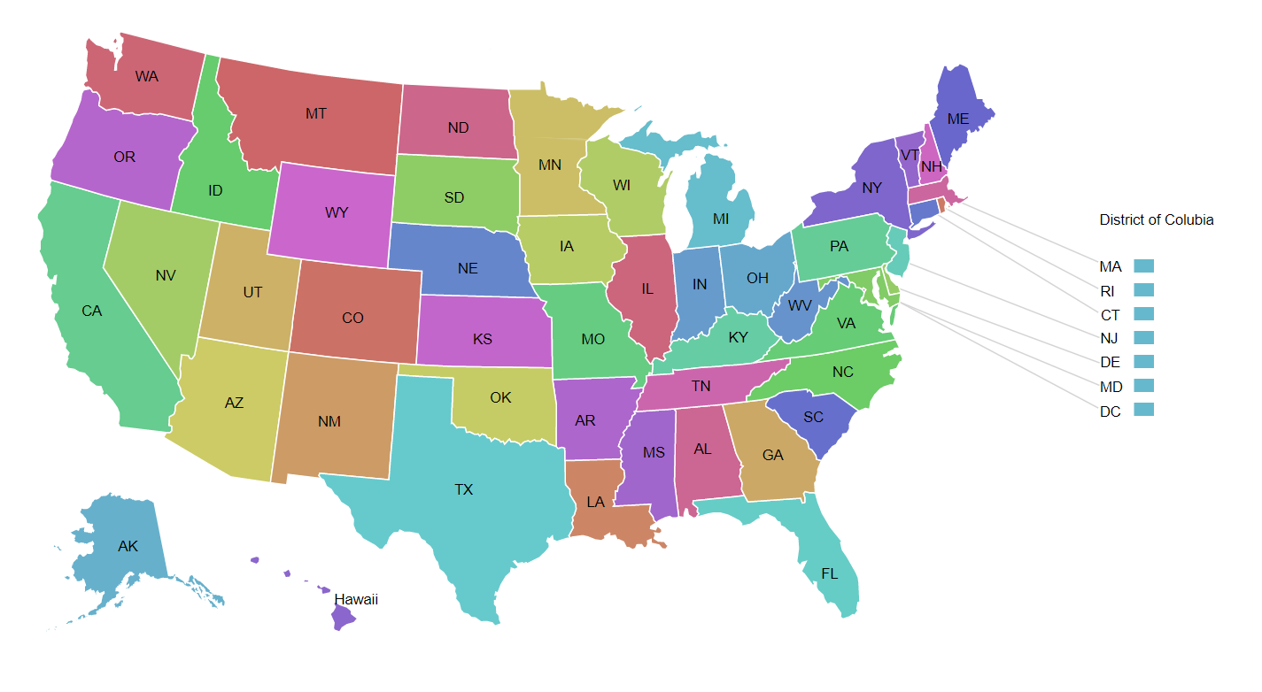 Colorful United States map