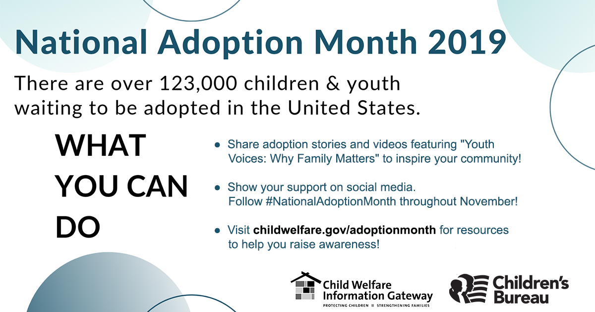 National Adoption Month 2019 What you can do campaign graphic