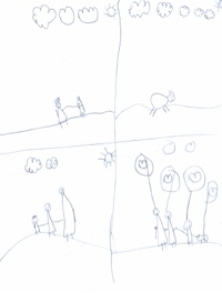 Child's pencil drawing that has been separated into four quadrants, and includes a family with hearts above their heads outside