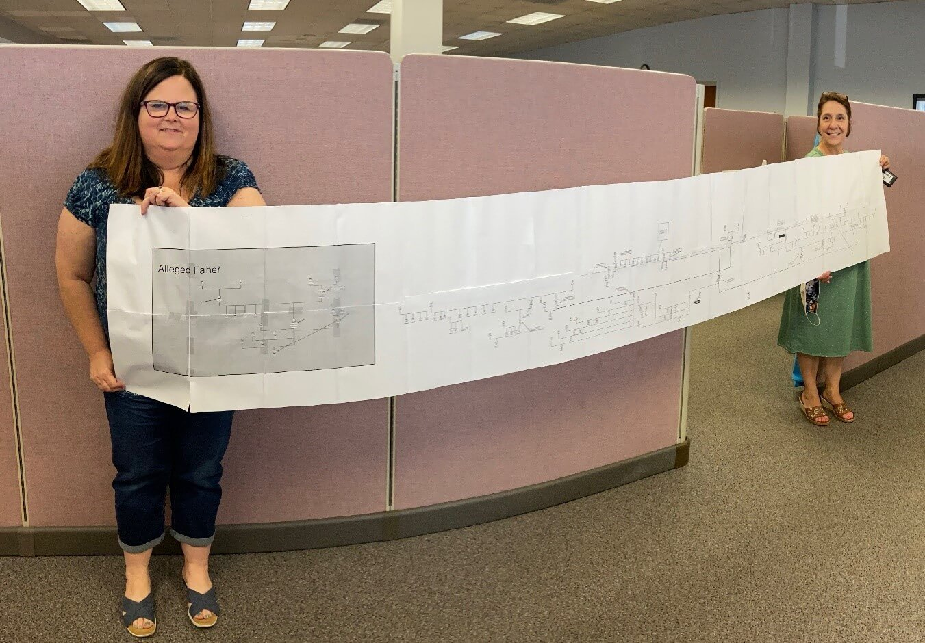 Hancock County 30 Days to Family supervisor, Angie Rader, and specialist, Rebecca Shumaker, display a recent genogram, with 159 identified family members.