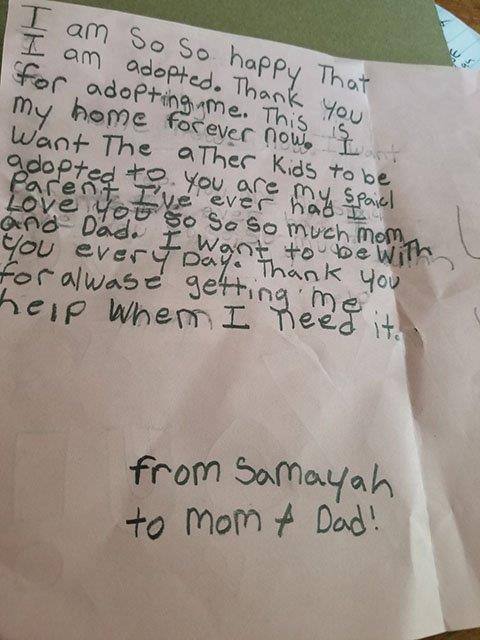 Letter from 10-year-old Sa'Mayah to her parents