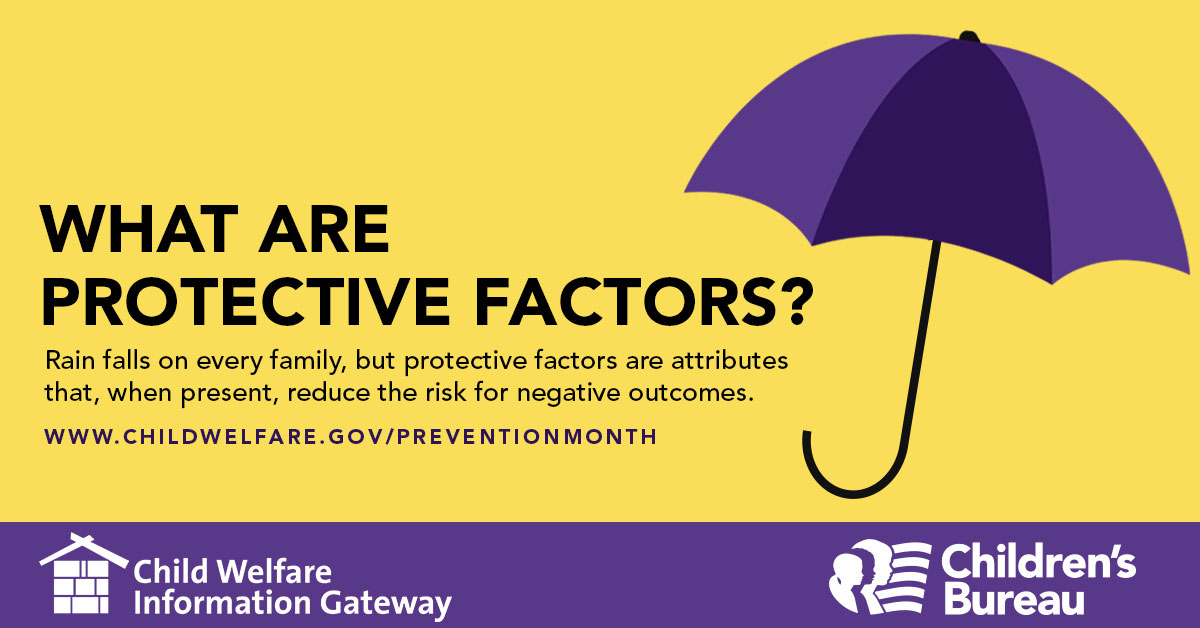 1200px by 628px Image with text What are Protective Factors? Rain falls on every family, but protective factors are attributes that, when present, reduce the risk for negative outcomes, Child Welfare Information Gateway. Children's Bureau.