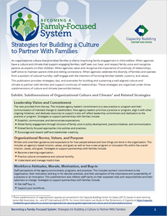 Strategies for Building a Culture to Partner With Families Cover