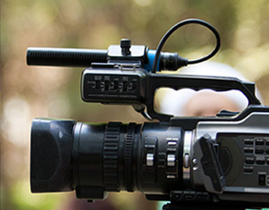 Close-up of a video camera